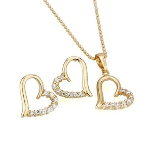 Gold earrings and necklace with beautiful pendant for everyday wear (image source: www.aliexpress.com)